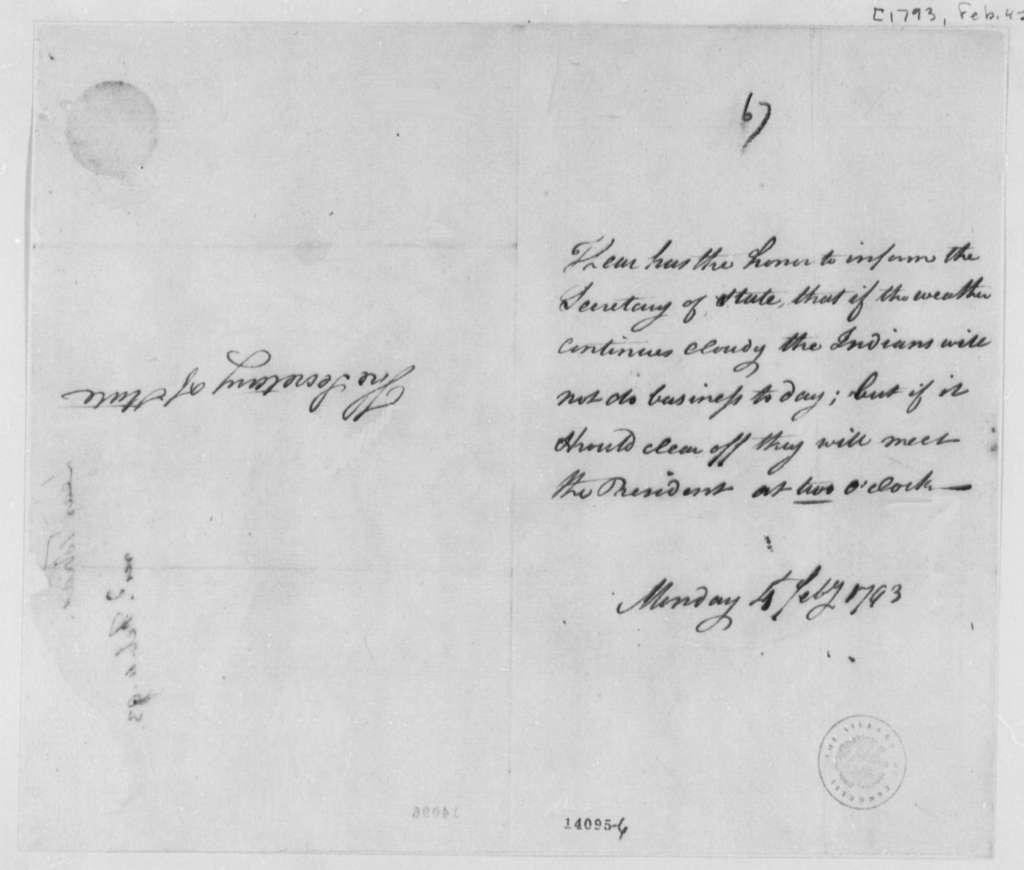 Tobias Lear to Thomas Jefferson, February 4, 1793