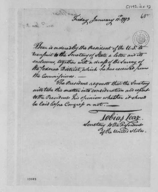 Tobias Lear to Thomas Jefferson, January 11, 1793