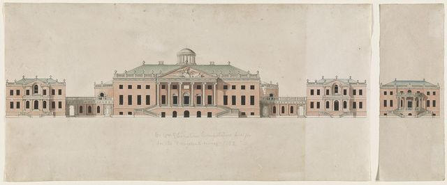 [United States Capitol. Tortola scheme. Competition rendering of façade. Elevation with central pediment and lantern]