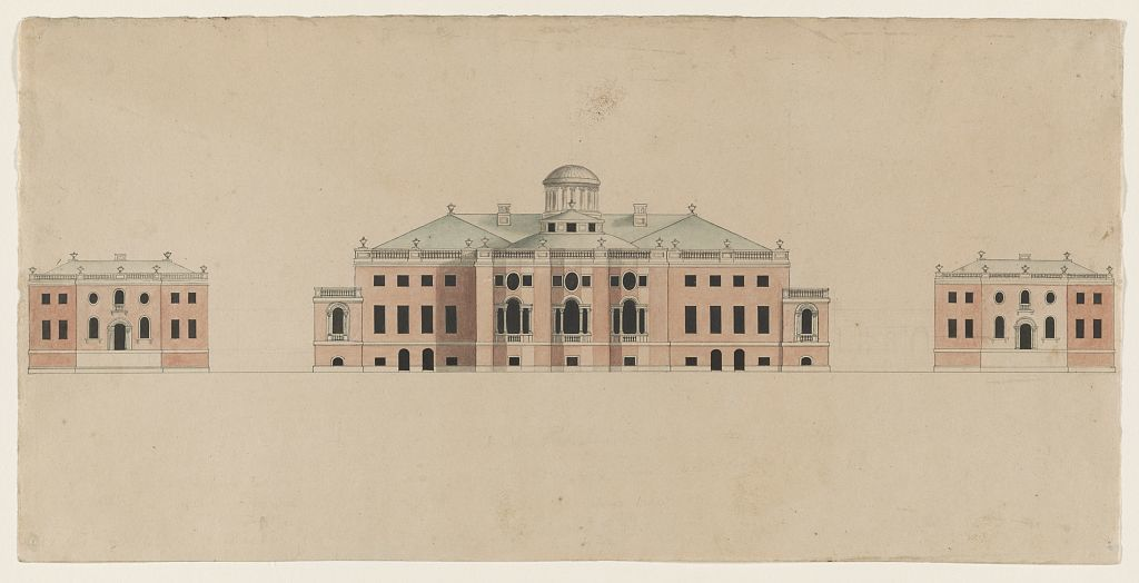 [United States Capitol. Tortola scheme. Competition rendering of façade. Elevation with central dome and lantern]