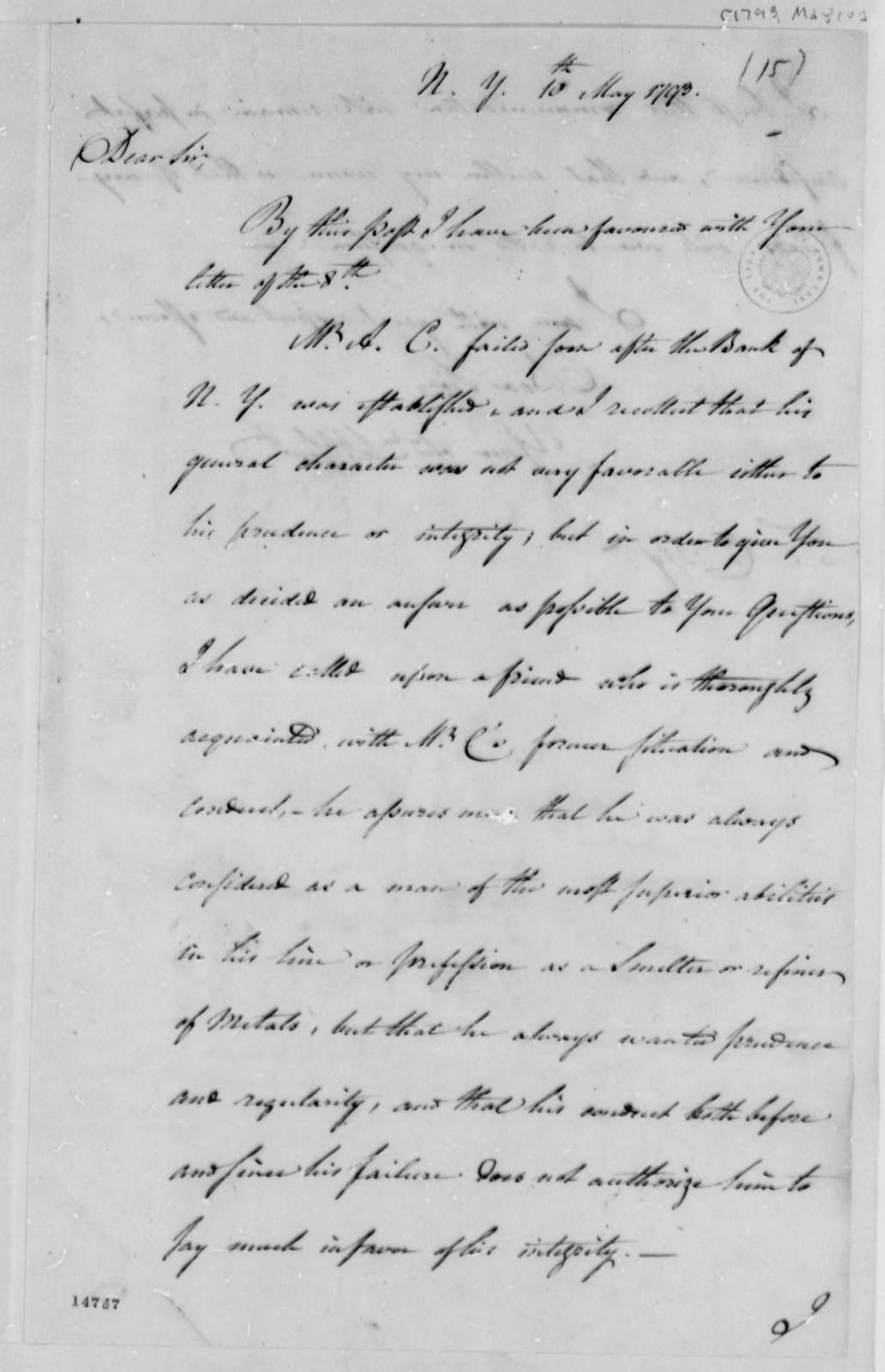Unknown to Tench Coxe, May 10, 1793
