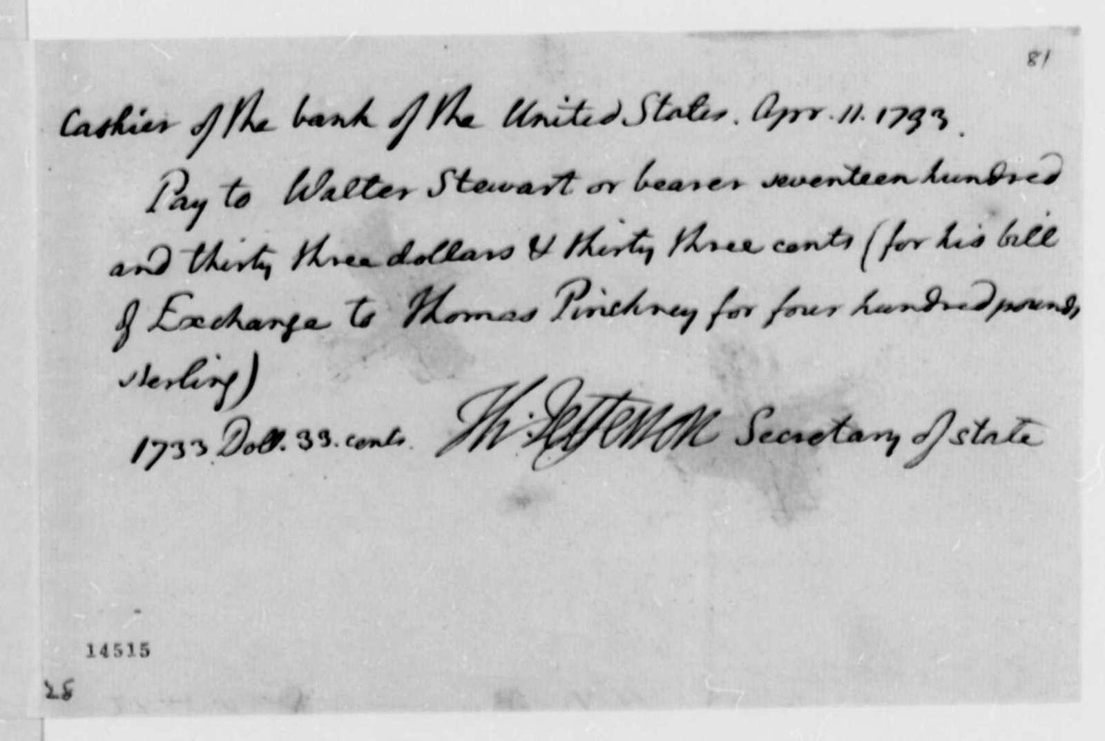 Walter Stewart, April 11, 1793, U.S. Bank Draft