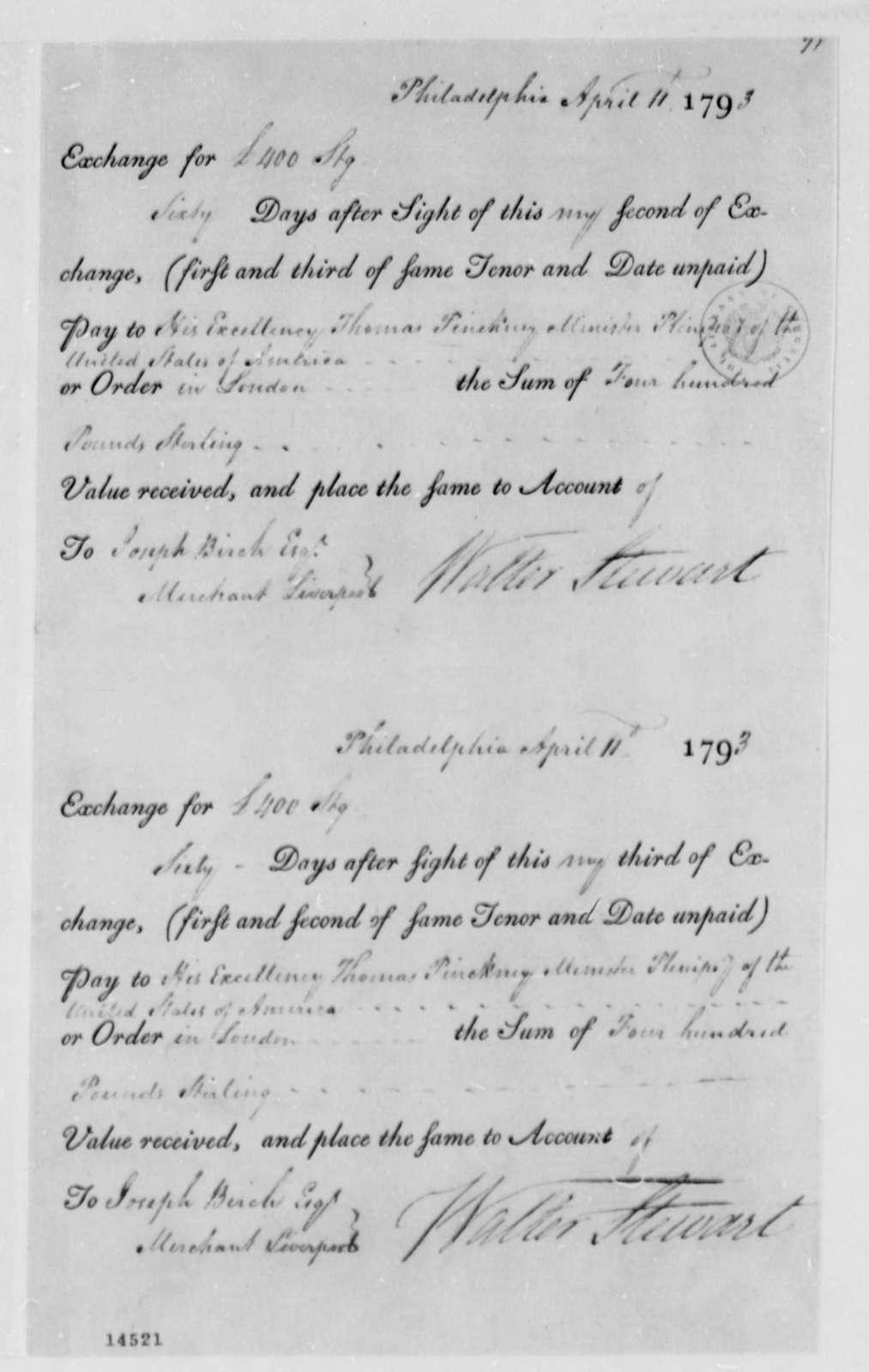 Walter Stewart to Thomas Pinckney, April 11, 1793, Bank Drafts