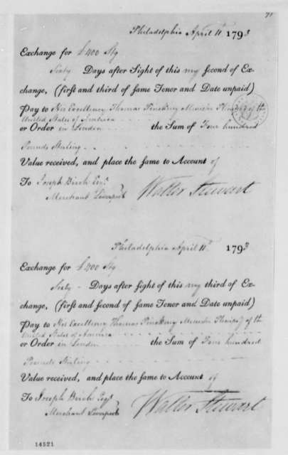 Walter Stewart to Thomas Pinckney, April 11, 1793, Bank Drafts