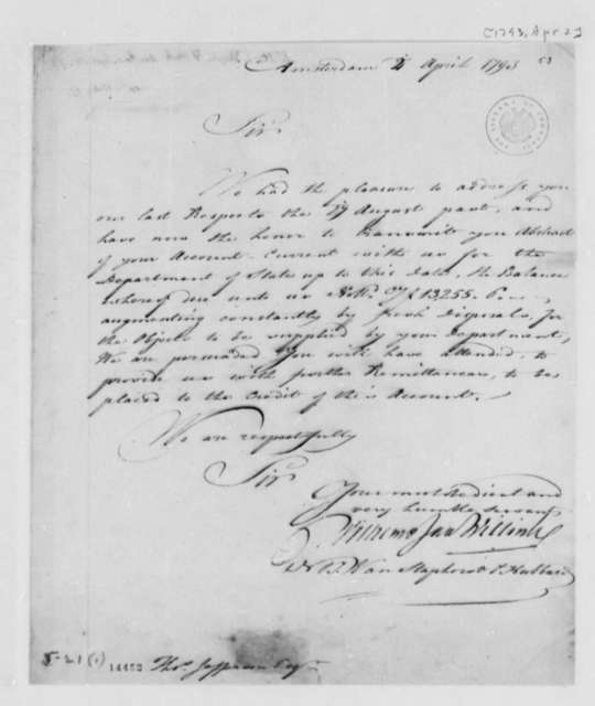 Wilhelm Willink, et al to Thomas Jefferson, April 2, 1793, with Copy and Account