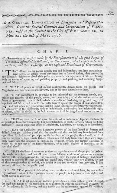 A collection of all such acts of the General Assembly of Virginia, of a public and permanent nature, as are now in force : with a table of the principal matters. To which are prefixed the Declaration of Rights, and Constitution, or form of government. Published pursuant to an act of the General Assembly, intituled, 'An act providing for the republication of the laws of this Commonwealth,' passed on the twenty-eighth day of December, one thousand seven hundred and ninety-two