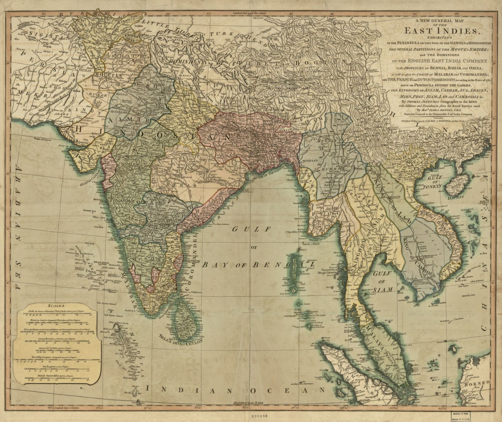 A new general map of the East Indies : exhibiting in the Peninsula on this side of the Ganges, or Hindoostan, the several partitions of the Mogul's Empire ; and the dominions of the English East India Company in the provinces of Bengal, Bahar, Orixa, as well as upon the coasts of Malabar and Coromandel ; with the French and Dutch possessions according to the peace of 1783 : and in the peninsula beyond the Ganges, the kingdoms of Assam, Cashar, Aua, Aracan, Mien, Pegu, Siam, Lao and Cambodia, &c. /