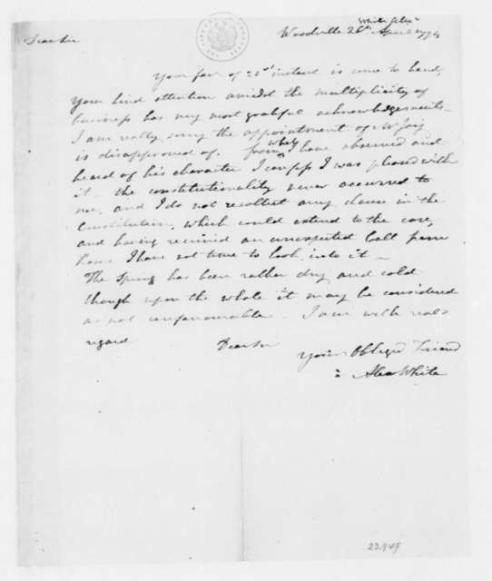 Alexander White to James Madison, April 26, 1794.