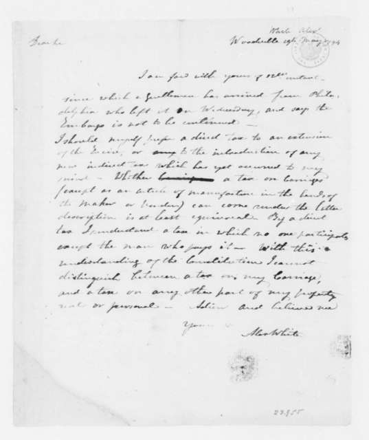 Alexander White to James Madison, May 19, 1794.