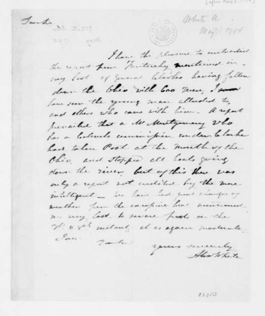 Alexander White to James Madison, May 5, 1794.