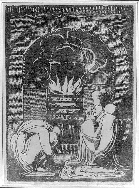 [Allegorical family scene: man and woman huddled by fire; dead(?) child lying on floor]