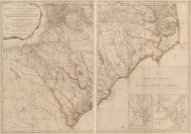 An accurate map of North and South Carolina with their Indian frontier, shewing in a distinct manner all the mountains, rivers, swamps, arshes, bays, creeks, harbours, sandbanks and soundings on the coasts with the roads and Indian paths as well as the boundary or provincial lines, the several townships, and other divisions of the land in both the provinces /