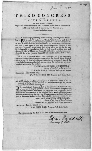 ... An act authorizing a settlement of certain expenses of the Commissioner of loans ... [Followed by] An act allowing an additional compensation to the principal clerks in the Department of state, and the Treasury and War Departments for the ye