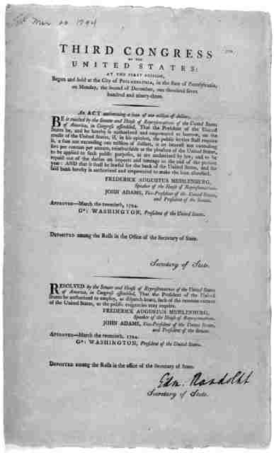 ... An act authorizing the loan of one million of dollars. Philadelphia: Printed by Francis Childs and John Swaine, 1794].