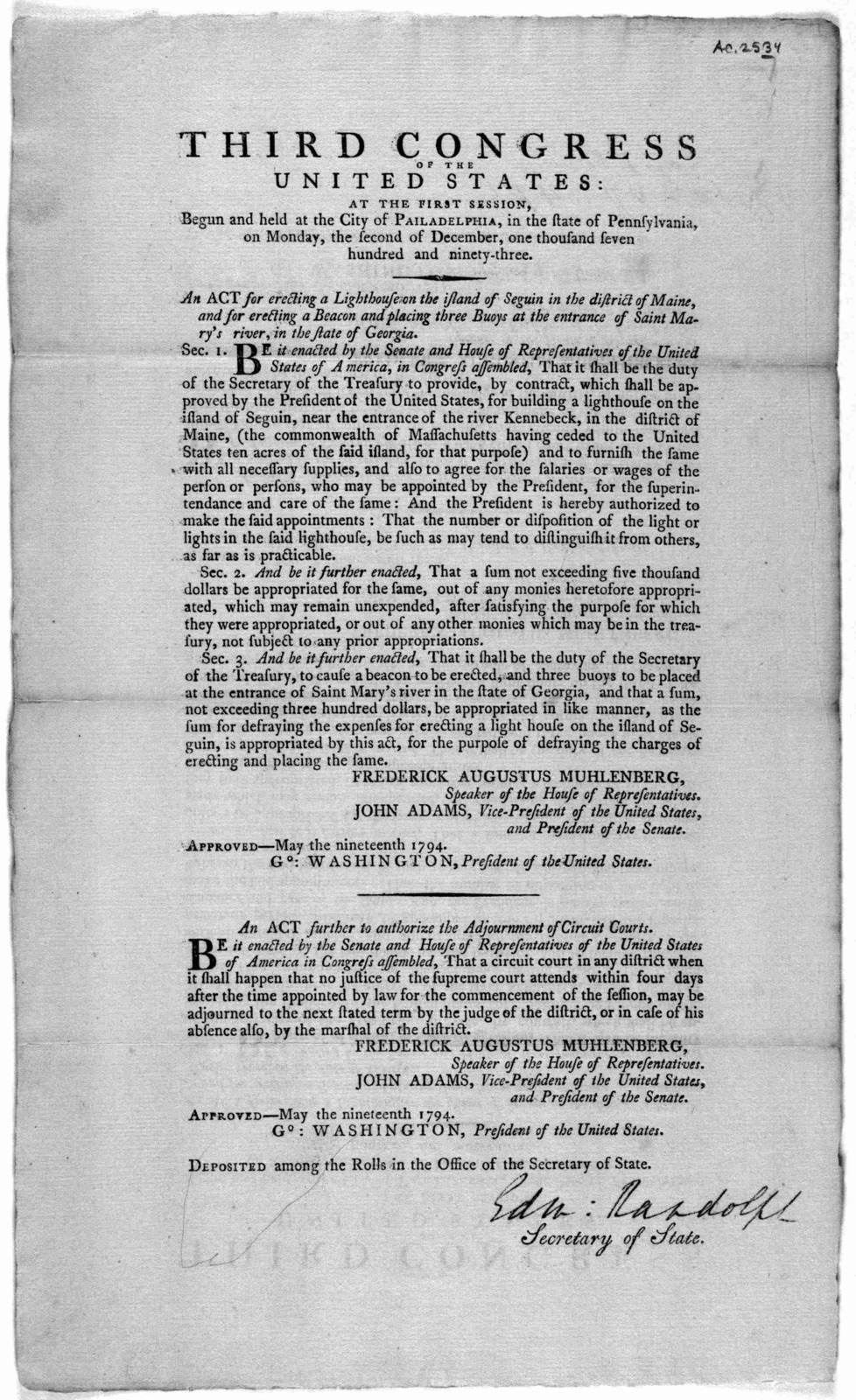 ... An act for erecting a lighthouse on the island of Seguin in the district of Maine, and for erecting a beacon and placing three buoys at the entrance of Saint Mary's river, in the state of Georgia ... [Followed by] An act further to authorize