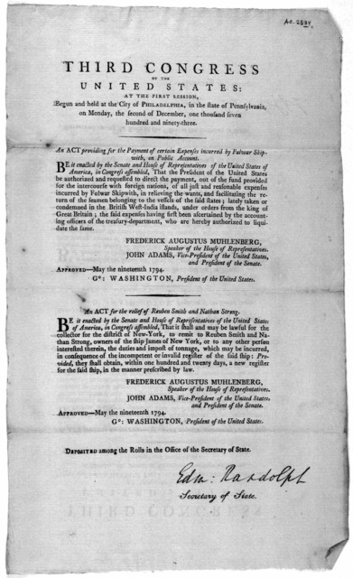 ... An act providing for the payment of certain expenses incurred by Fulwar Skipwith, on public account ... [Followed by] An act for the releif of Reuben Smith and Nathan Strong. [Philadelphia: Printed by Childs and Swaine, 1794].