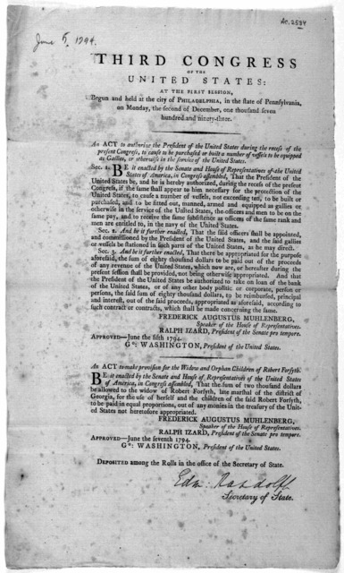 ... An act to authorize the President of the United States during the recess of the present Congress, to cause to be purchased or built a number of vessels to be equipped as gallies, or otherwise in the service of the United States ... [Followed