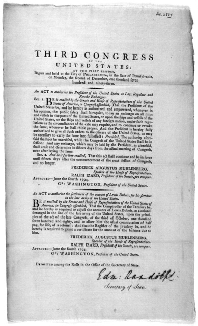 ... An act to authorize the President of the United States to lay, regulate and revoke embargoes ... [Followed by] An act to authorize the settlement of the account of Lewis Dubois, for his services in the late army of the United States. [Philad