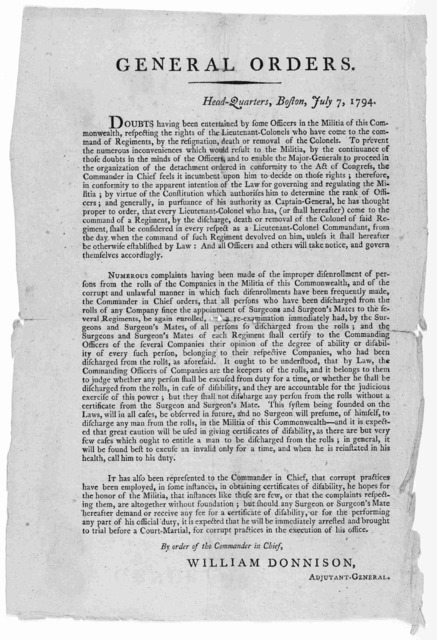 General orders. Head-Quarters, Boston, July 7, 1794 ... By order of the Commander in Chief, William Donnison Adjutant General. [Boston: Printed by Adams and Larkin, 1794].