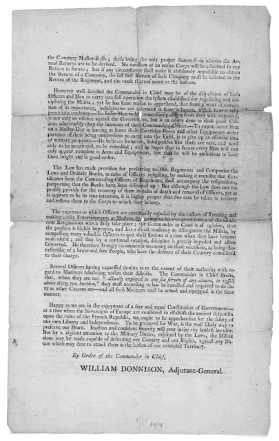 General orders. Headquarters, Boston, March 1, 1794 ... By order of the Commander in Chief. William Donnison, Adjutant General. [Boston: Printed by Adams and Larkin,1794].