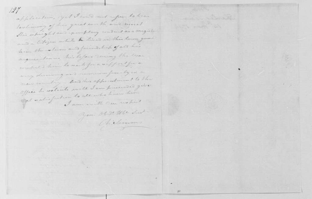 George Washington Papers, Series 4, General Correspondence: Charles Simms to George Washington, March 14, 1794