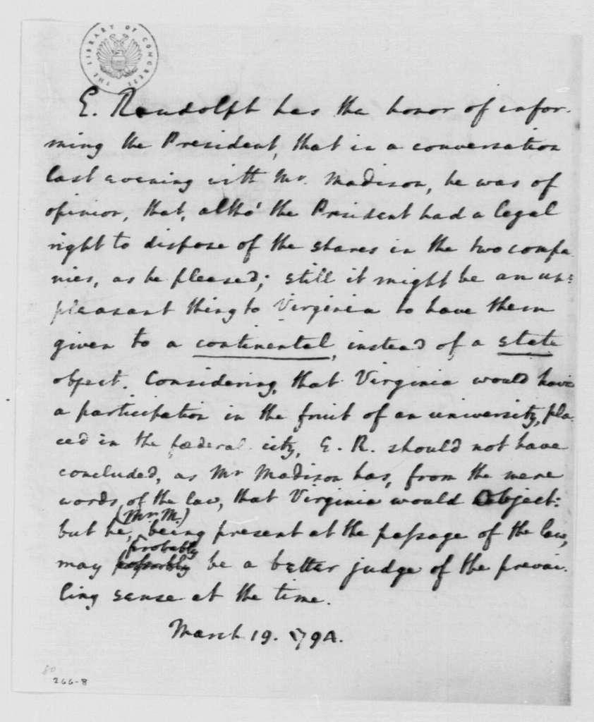 George Washington Papers, Series 4, General Correspondence: Edmund Randolph to George Washington, March 19, 1794