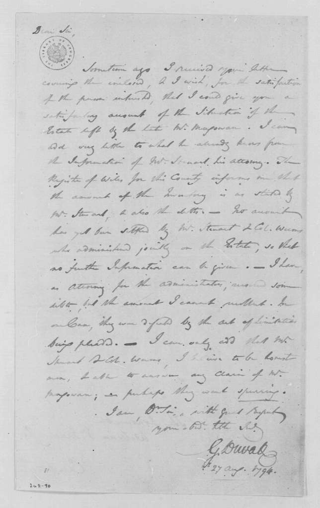 George Washington Papers, Series 4, General Correspondence: Gabriel Duval to William V. Murray, August 27, 1794