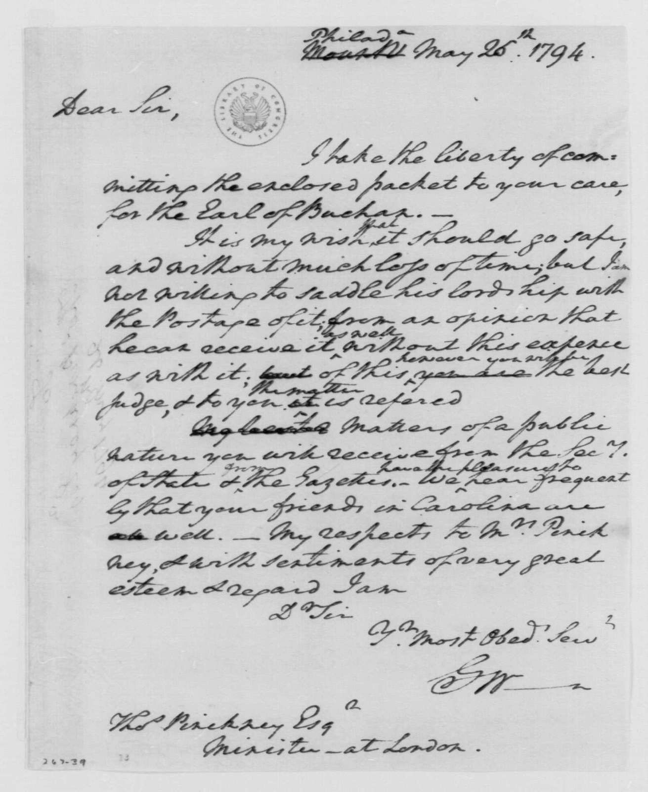 George Washington Papers, Series 4, General Correspondence: George Washington to Thomas Pinckney, May 26, 1794