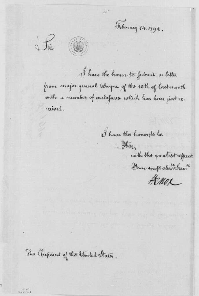 George Washington Papers, Series 4, General Correspondence: Henry Knox to George Washington, February 14, 1794