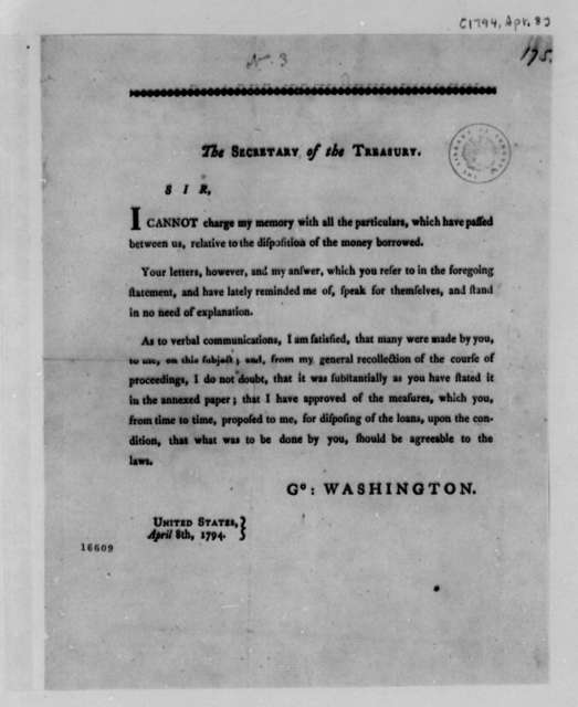 George Washington to Alexander Hamilton, April 8, 1794, Circular