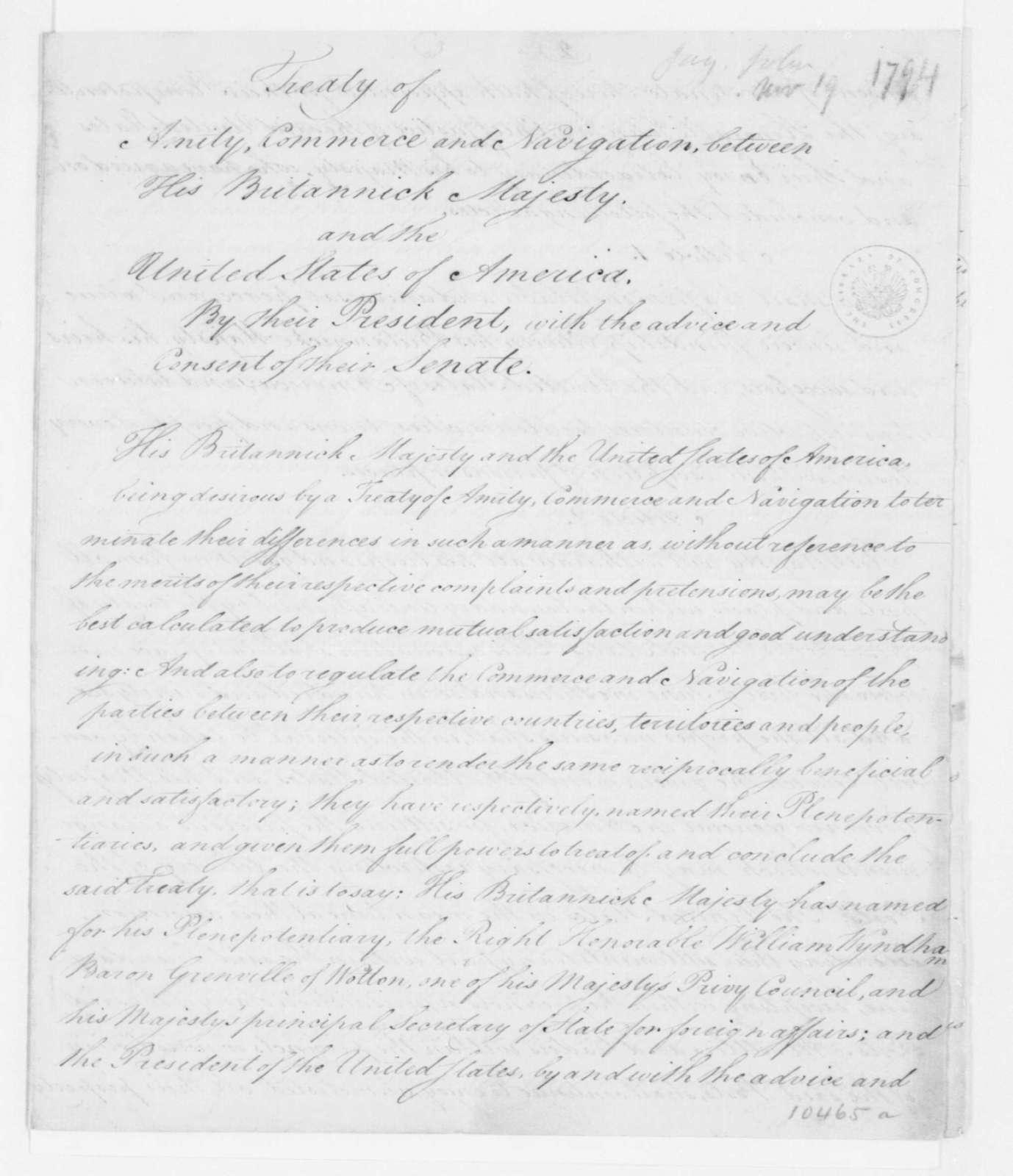 Great Britain & US-John Jay's Treaty, November 19, 1794. & Senate Ratified June 1795.