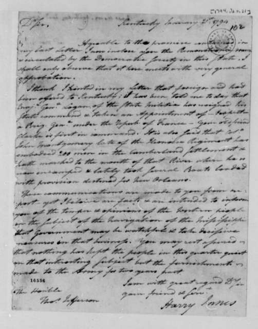 Harry Innes to Thomas Jefferson, January 21, 1794