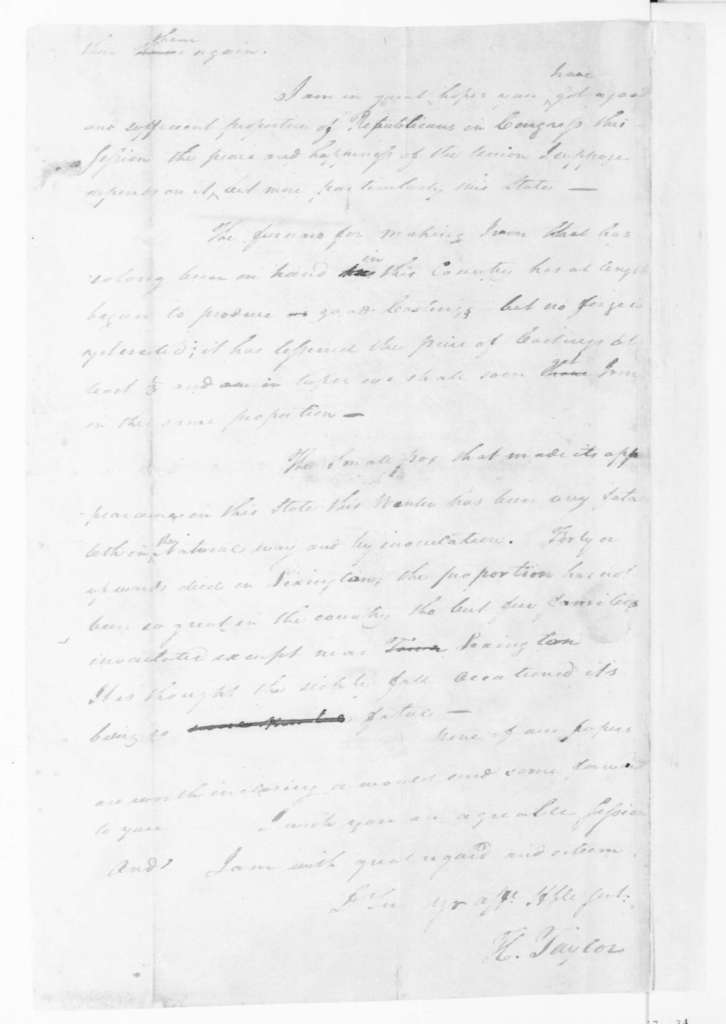 Hubbard Taylor to James Madison, March 10, 1794.