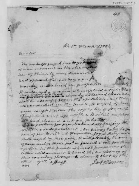 James Monroe to Thomas Jefferson, March 31, 1794, Mutilated