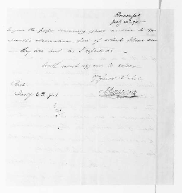 John Dawson to James Madison, January 23, 1794.