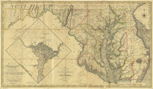 Map of the State of Maryland laid down from an actual survey of all the principal waters, public roads, and divisions of the counties therein; describing the situation of the cities, towns, villages, houses of worship and other public buildings, furnaces, forges, mills, and other remarkable places; and of the Federal Territory; as also a sketch of the State of Delaware shewing the probable connexion of the Chesapeake and Delaware Bays.