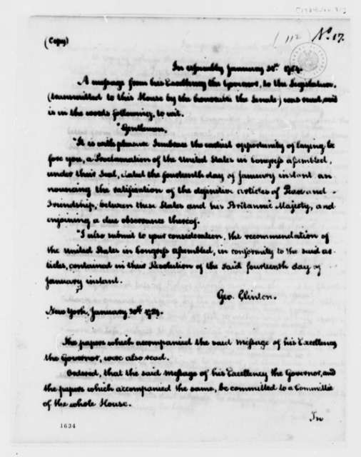 New York General Assembly, January 31, 1794, U.S. and Great Britain Treaty