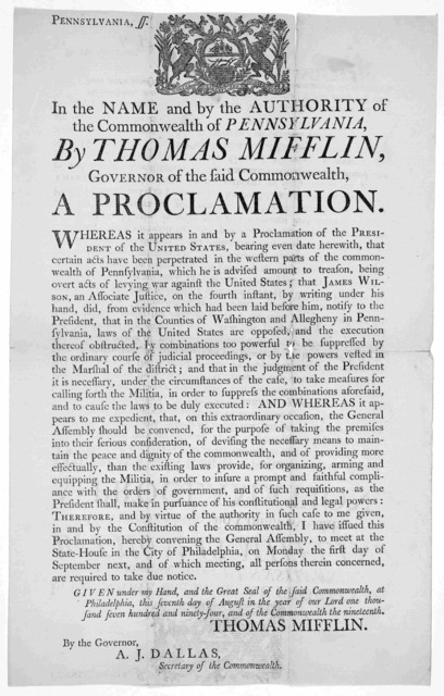 Pennsylvania ss. [Arms] In the name and by the authority of the Commonwealth of Pennsylvania. By Thomas Mifflin, Governor of the said commonwealth, a proclamation. Whereas it appears in and by a proclamation of the President of the United States