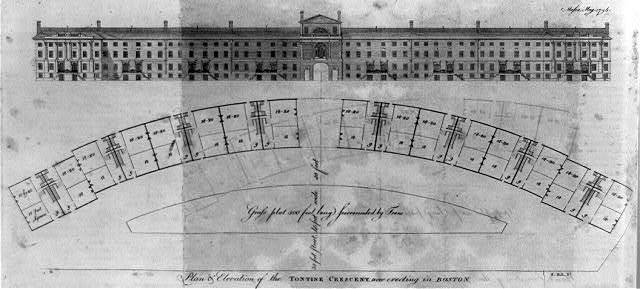 Plan & elevation of the Tontine Crescent now erecting in Boston / S. Hill, sc.