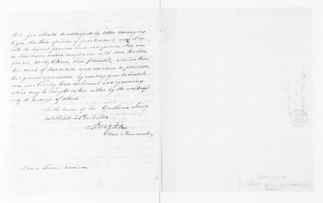 Republican Society of South Carolina to James Madison, March 12, 1794. Commendation - signed by Stephen Drayton - Citizen President.