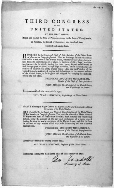 ... Resolved by the Senate and House of representatives of the United States of America, in Congress assembled, That an embargo be laid on all ships and vessels in the ports of the United States, whether already cleared out, or not, bound in any