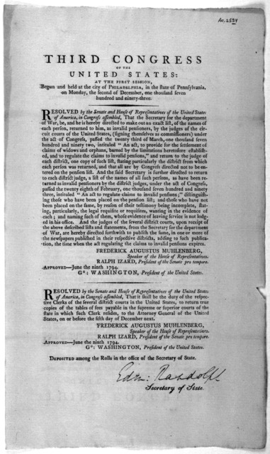 ... Resolved by the Senate and House of representatives of the United States of America, in Congress assembled, That the Secretary for the department of war, be, and he is hereby directed to make out an exact list, of the name of each person, re