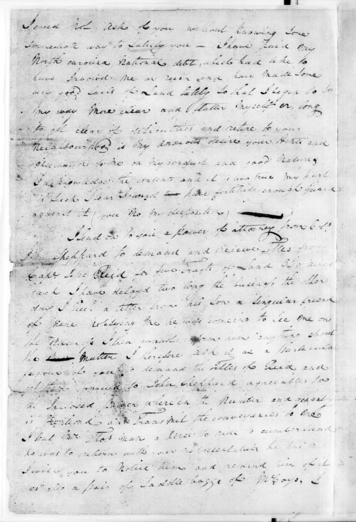 Stockley Donelson to Andrew Jackson, March 2, 1794