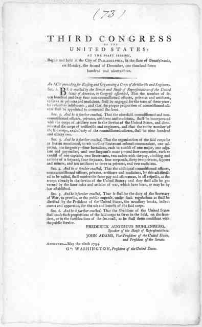 Third Congress of the United States: at the first session, begun and held at the City of Philadelphia, in the state of Pennsylvania,on Monday, the second of December, one thousand seven hundred and ninety-three. An act providing for raising and