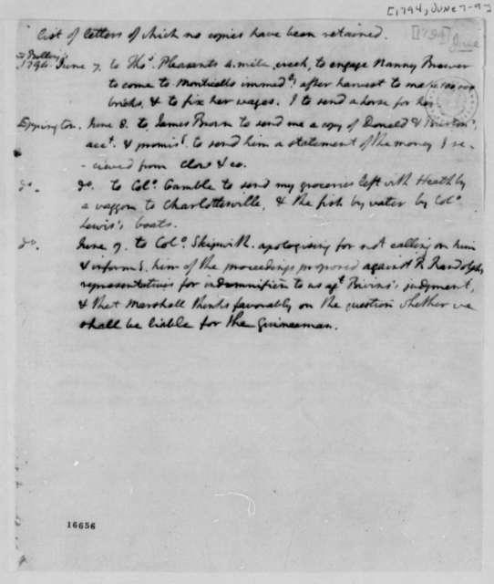 Thomas Jefferson, June 7, 1794, List of Letters
