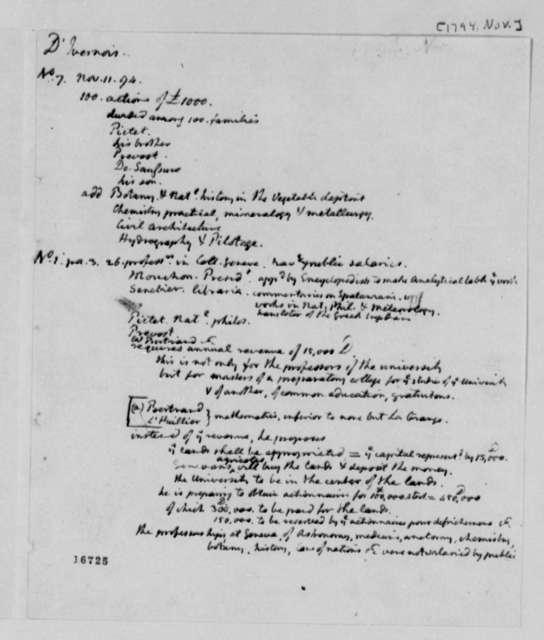 Thomas Jefferson, November 1794, Notes on Ivernois Academy