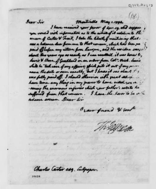 Thomas Jefferson to Charles Carter, May 1, 1794