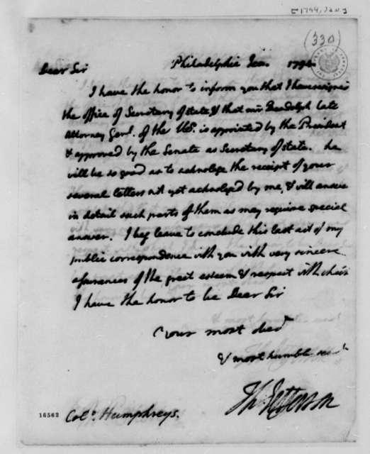 Thomas Jefferson to David Humphreys, January 1794
