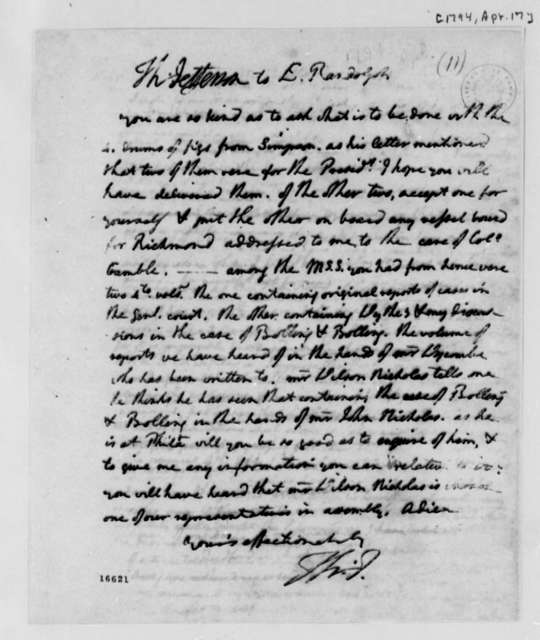 Thomas Jefferson to Edmund Randolph, April 17, 1794
