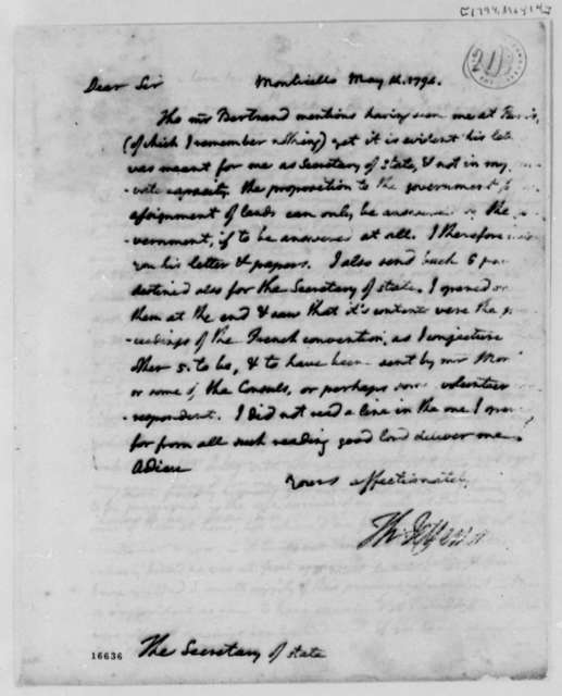 Thomas Jefferson to Edmund Randolph, May 14, 1794